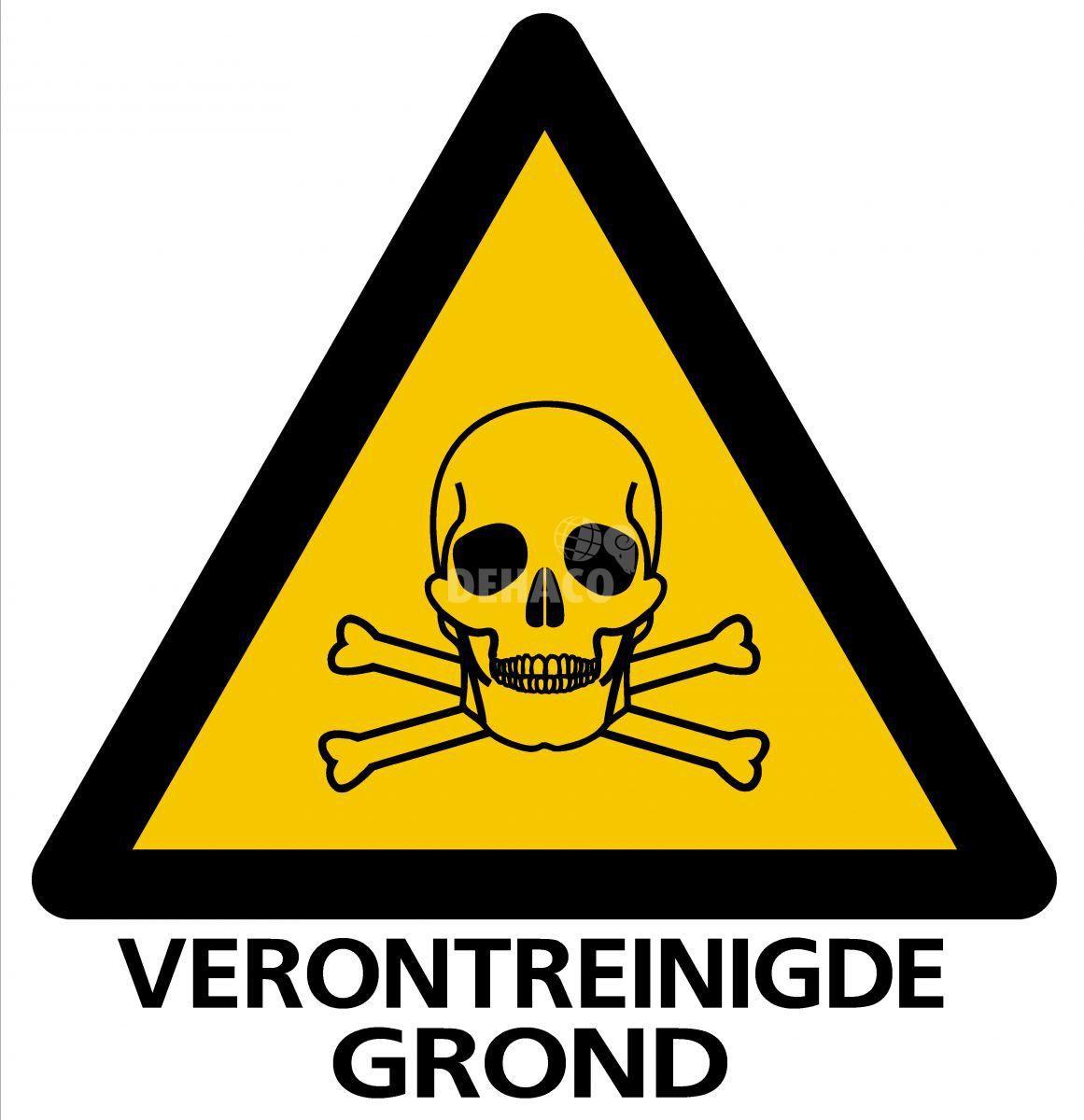 absperrschild giftige stoffeverunreinigter boden 33 x 32 cm