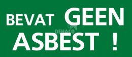 """Aufkleber, grün. """"Enthält kein Asbest"""" 55x130mm"""