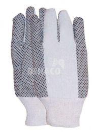 Baumwollhandschuh Polka-Dots mit PVC-Noppen Kategorie I Größe 10 pro Paar