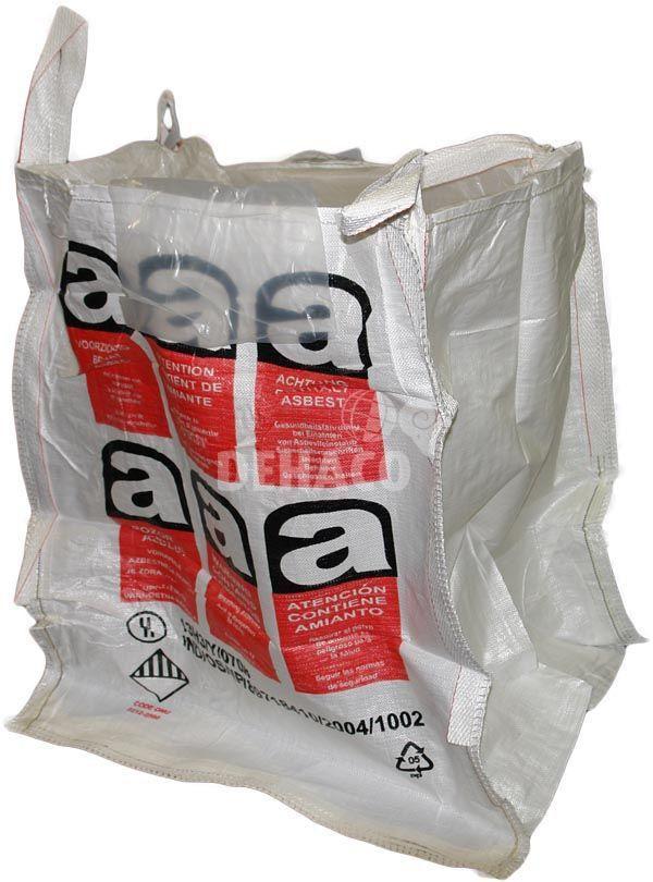 bigbag 90x90x110 cm mit asbestaufdruck und einfachem liner