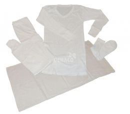 Cotton winter undergarments, including towel, per package