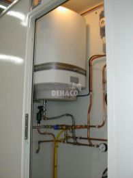 Electric boiler capacity 50 litres, 2000 Watts Gas geyser not available with this option.