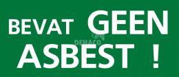 Sticker groen 'Bevat geen asbest' 55x130 mm