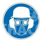 Sticker Must wear glasses/helmet/hearing protection ø 100 mm