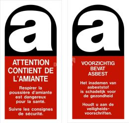 Stickers 'Amiante' 100x200 mm Franstalig per 100 stuks
